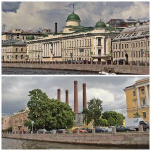 Saint-Pétersbourg Palais et cheminées d'usine
