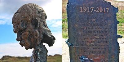 """La stèle honorant la mémoire des 198 """"tirailleurs sénégalais"""" morts dans le naufrage du Séquana en juin 1917"""
